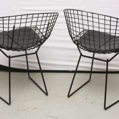 Bertoia Wire Chair Original Target Glider Ottoman Chairs With Black Leather Knoll Cushions