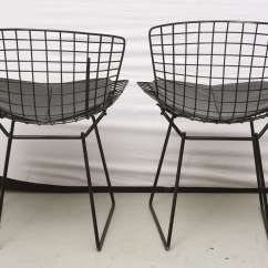 Bertoia Wire Chair Original The First Years High Booster Seat Chairs With Black Leather Knoll Cushions