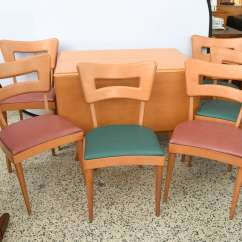 Heywood Wakefield Dining Table And Chairs Travel Chair Walmart Maple Drop Leaf 1950s