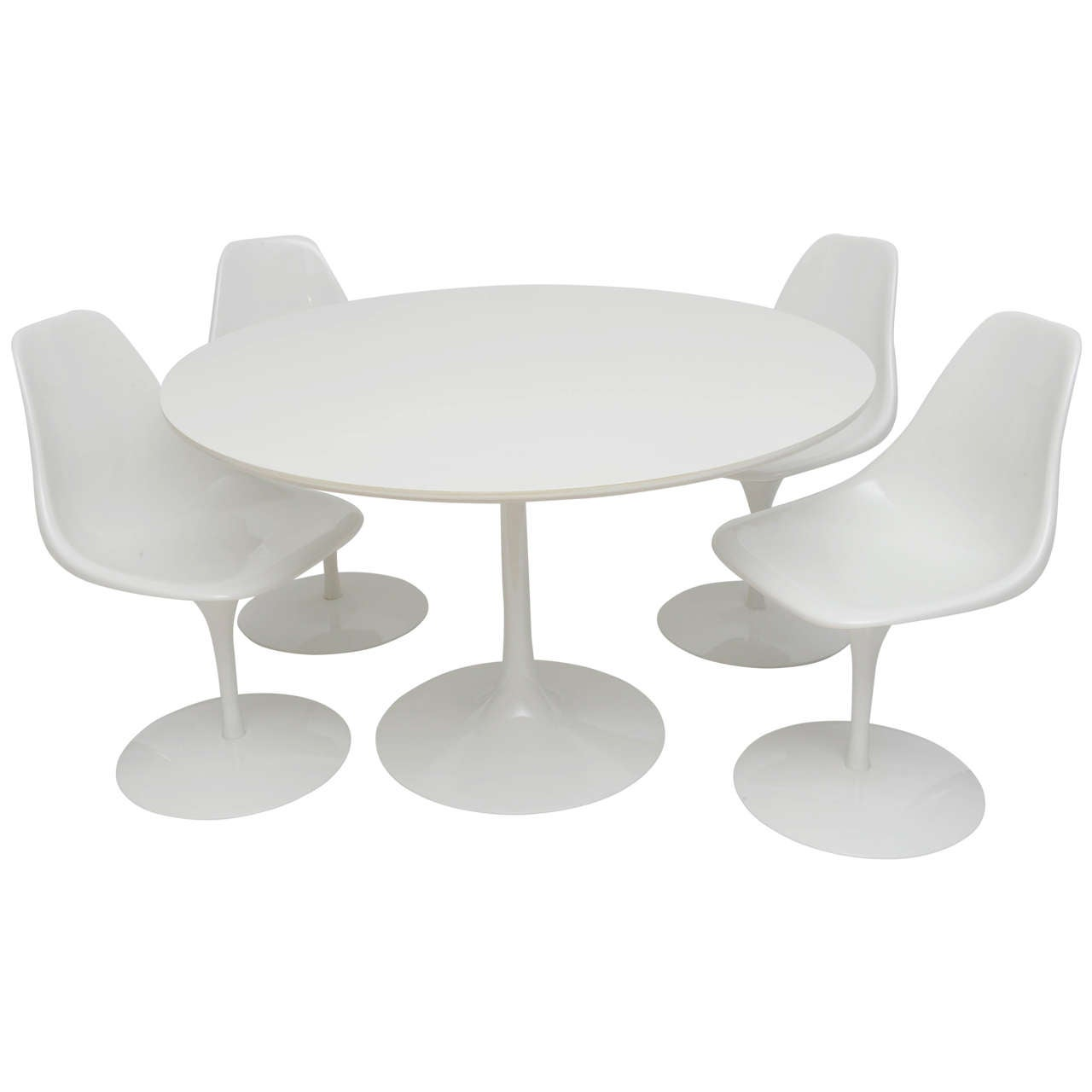 Tulip Table And Chairs Knoll Tulip Dining Table With Four Chairs At 1stdibs