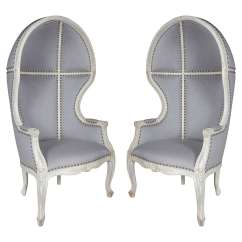 French Canopy Chair Upholstered Rocking For Nursery Uk Pair Of Gustavian Style Chairs With Elegant Hooded Design At Sale