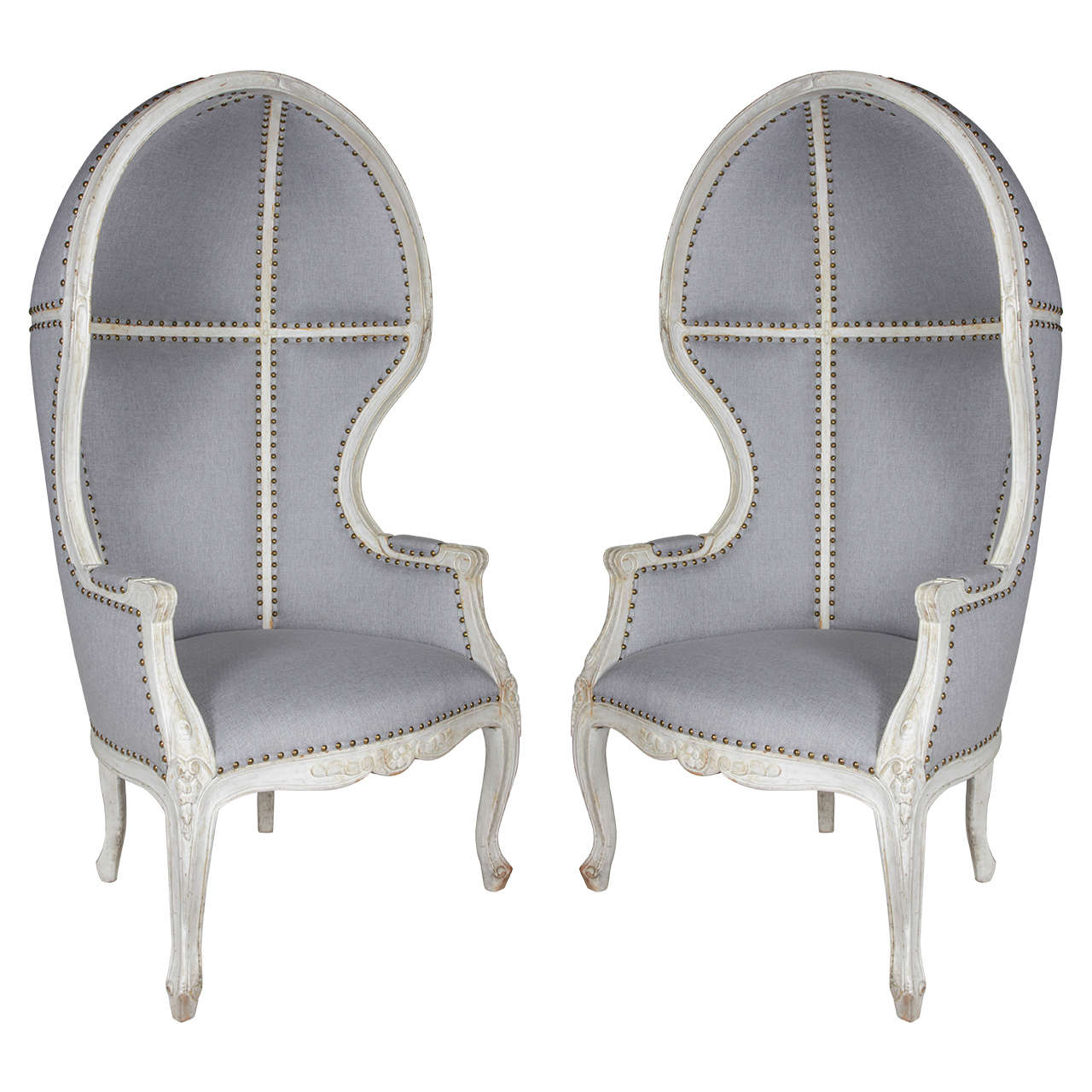 Hooded Chair Pair Of Gustavian Style Canopy Chairs With Elegant Hooded