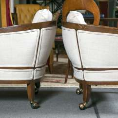 Chairs On Casters Barrel Club Pair Of Fine Custom Quality Back Mid Century Modern