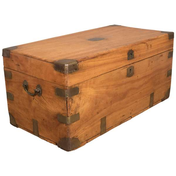 Chinese Export Camphorwood Sea Chest Campaign Trunk