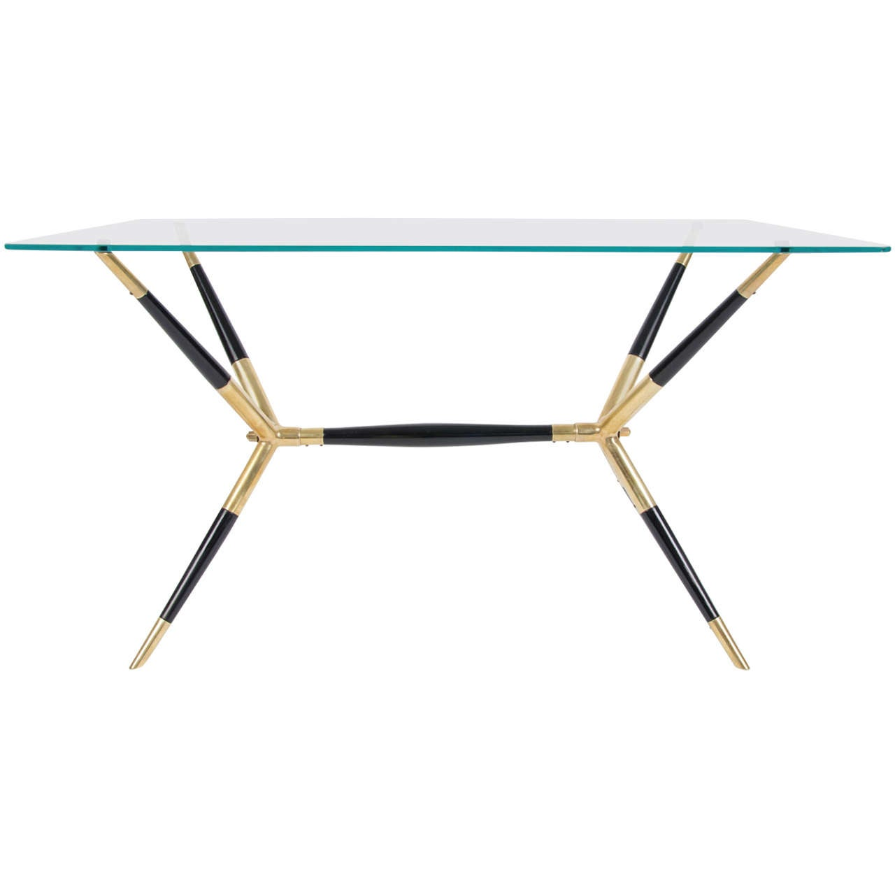 Brass And Ebonized Wood Coffee Table At 1stdibs
