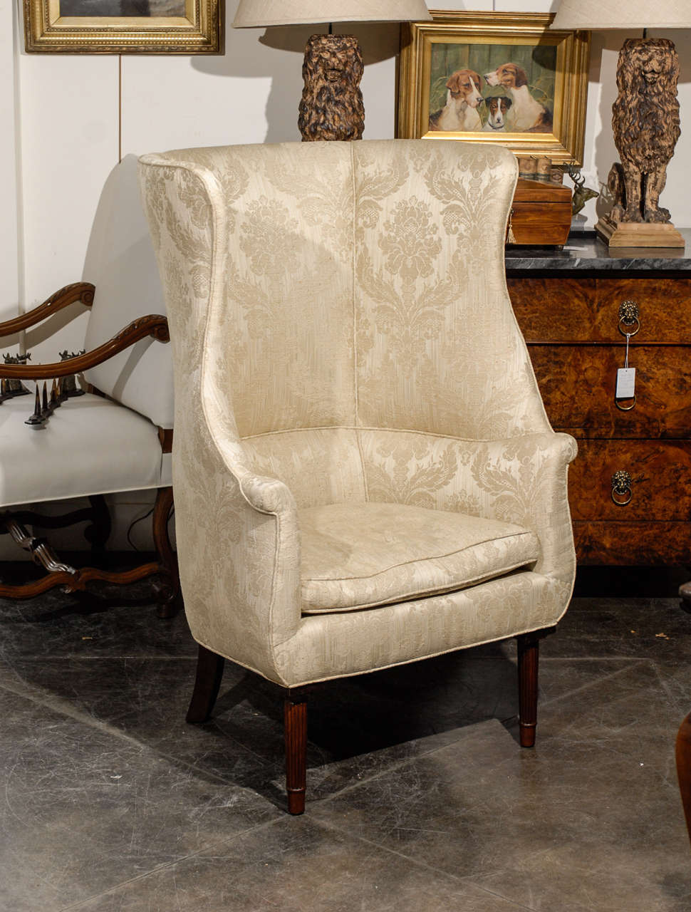 barrel back chair black and white accent chairs with arms 1920s large upholstered wing raised on four reeded unknown legs for sale