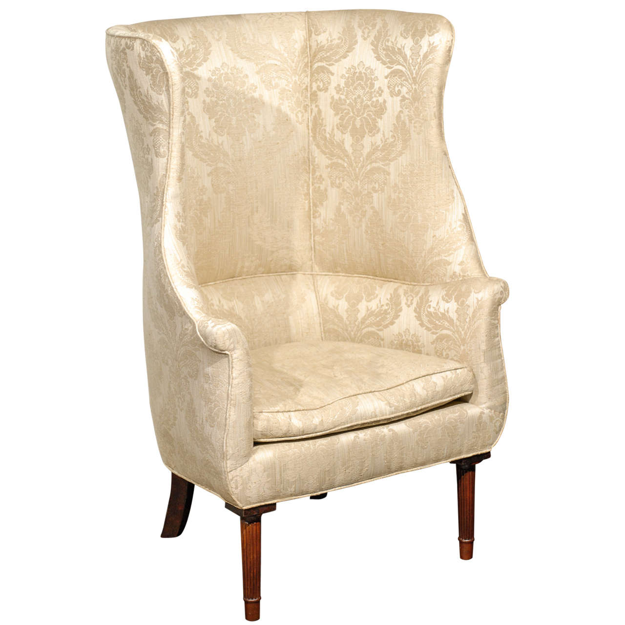 large wingback chair faux leather cushion barrel back wing for sale at 1stdibs