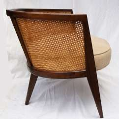 Mid Century Modern Cane Barrel Chairs Gym Ball As Chair Pair Of Harvey Probber Walnut And Hoop