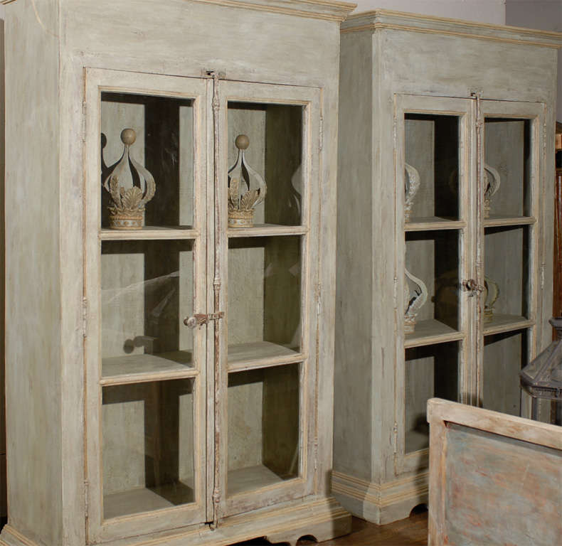 A Painted Wooden Bookcase With Glass Doors For Sale At 1stdibs