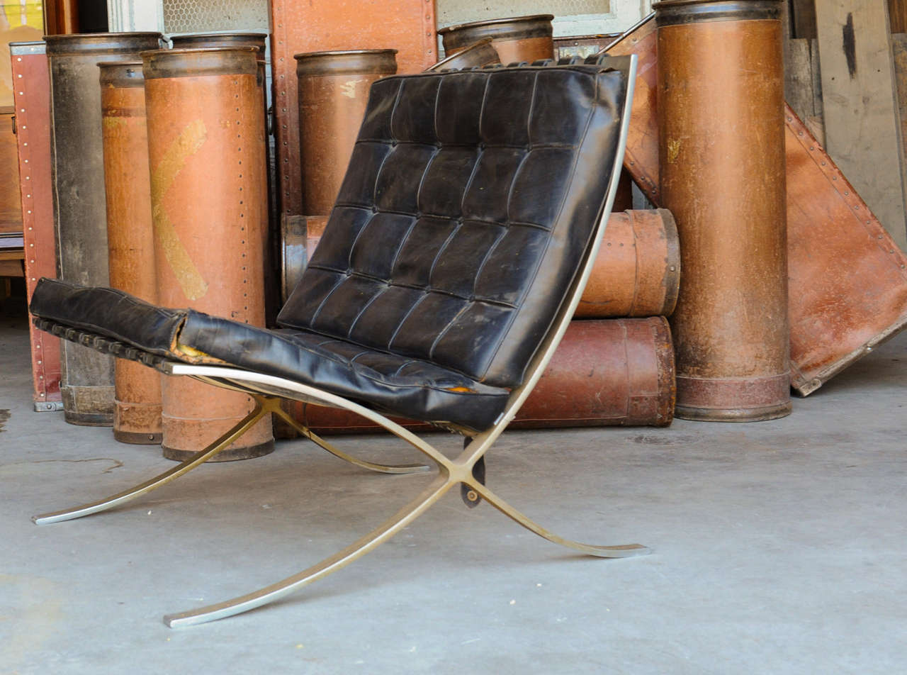 Barcelona Chairs For Sale Unrestored 50ies Barcelona Chair By Mies Van Der Rohe