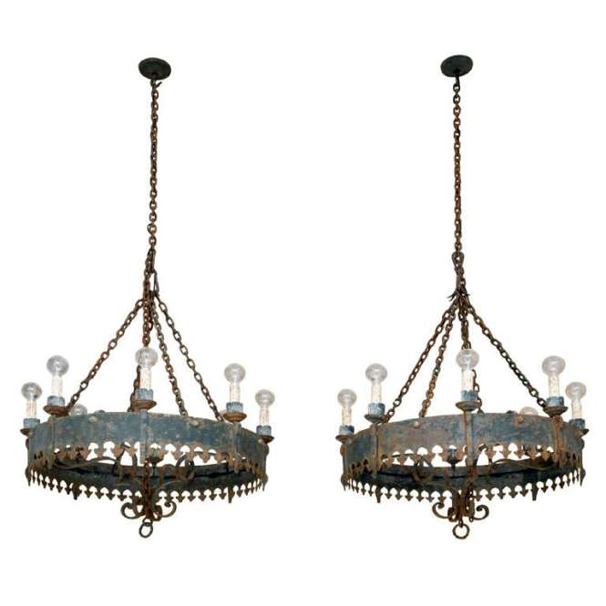 Large Antique Spanish Iron Chandelier For