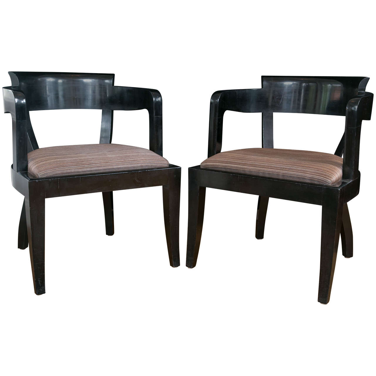 Black Chairs For Sale Set Of Ten Modernist Black Lacquered Dining Chairs For
