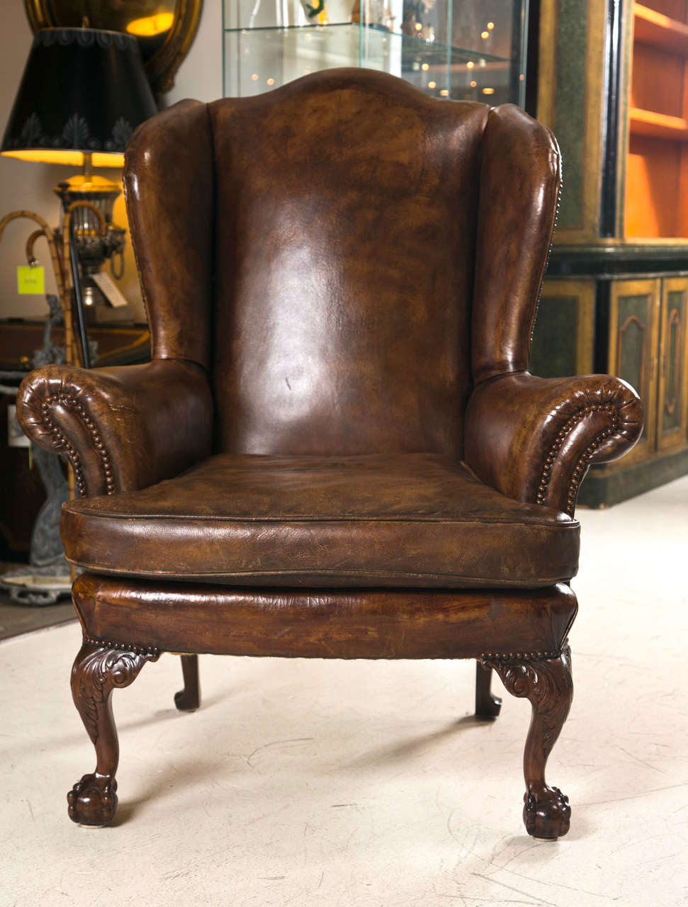 Brown Leather Wingback Chair Late 19th C Leather Wingback Chair With Ball And Claw Feet