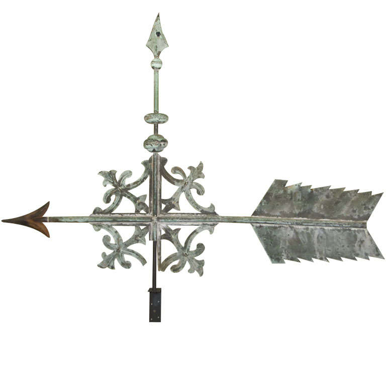 19th c. Tiffany Scroll Arrow and Bannerette Weathervane at