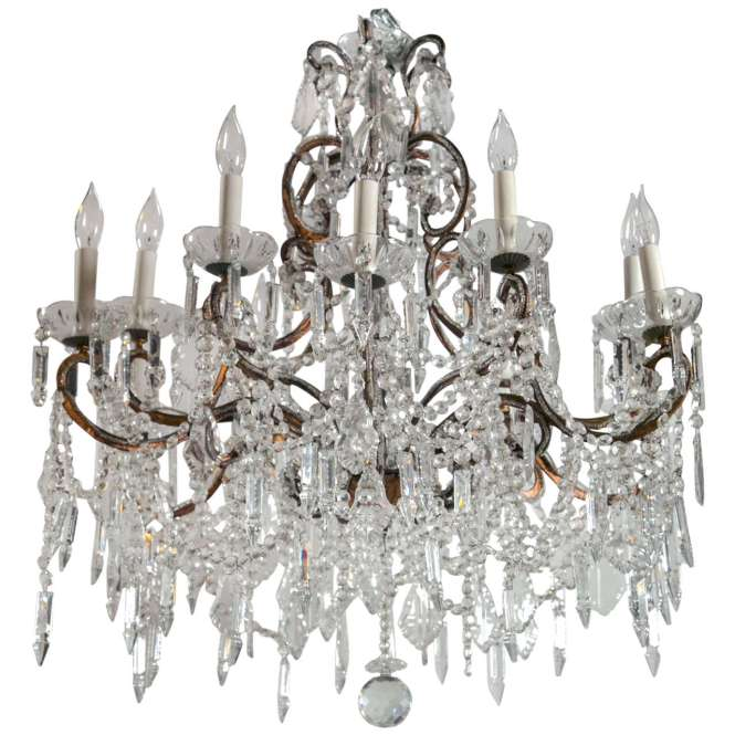 Vintage French Marie Therese Crystal Chandeliers For