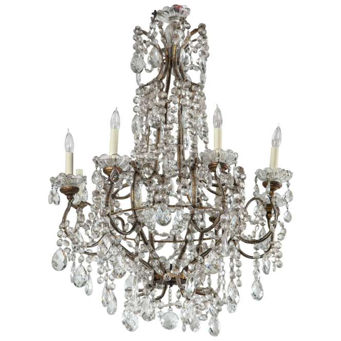Vintage French Louis Xvi Style Basket Form Crystal Chandelier 1
