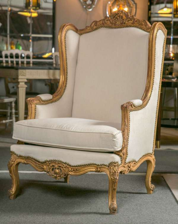 French Louis XV Bergere Style Chair