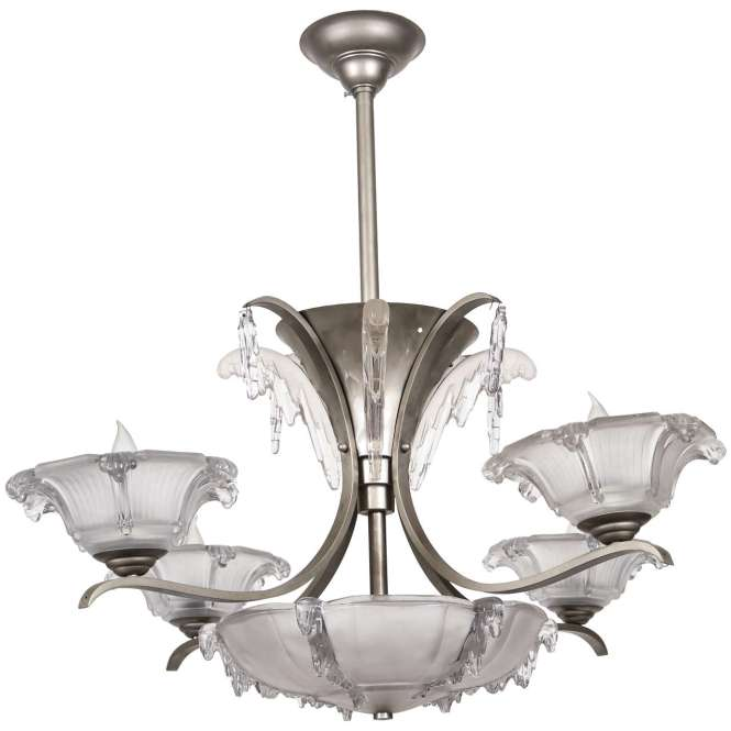 French Art Deco Chandelier With Lalique Style Glass 1