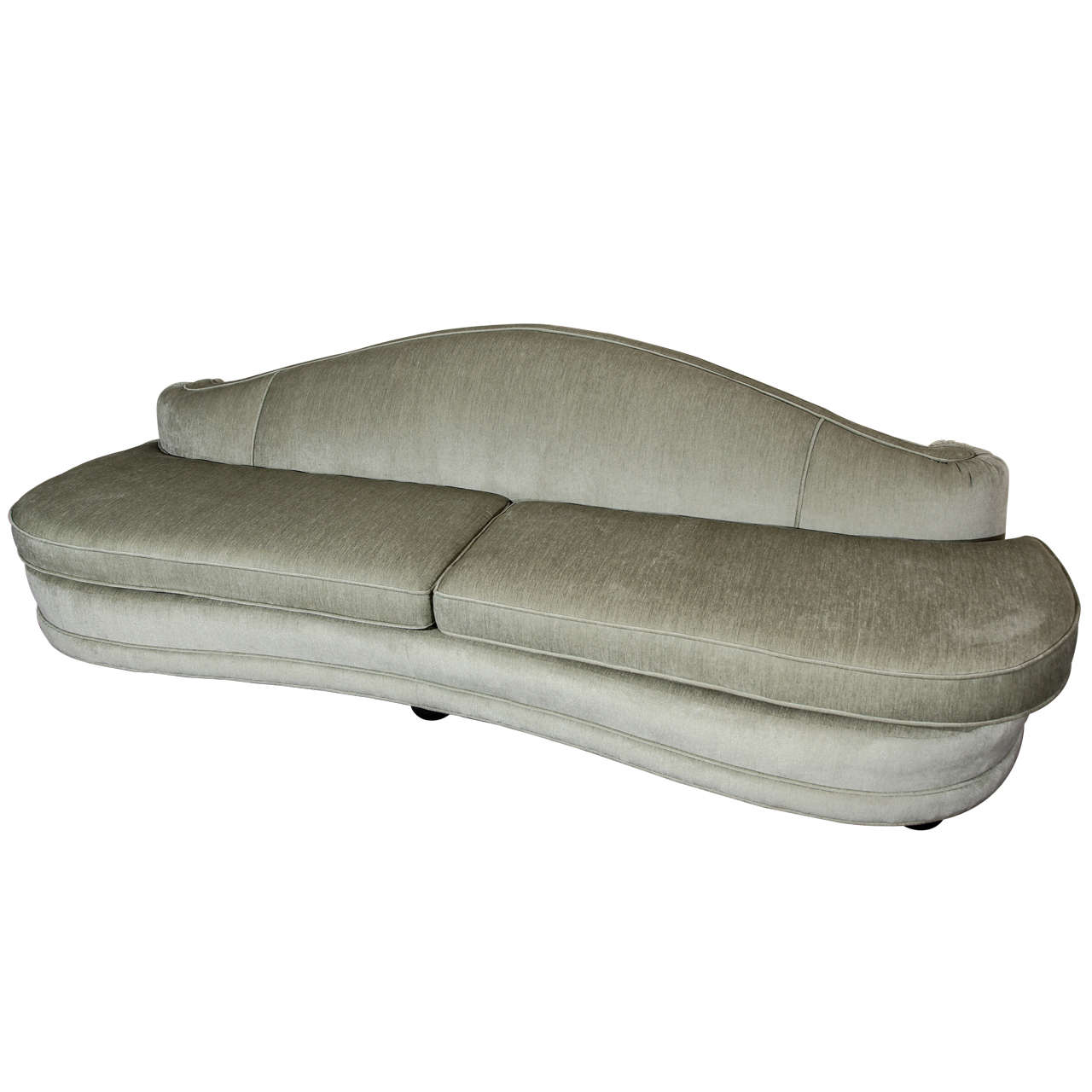 hollywood regency curved sofa grey dfs glamorous at 1stdibs