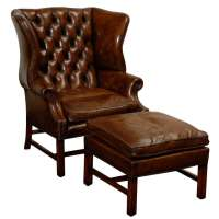 Owletts Tufted Wing Chair, wide at 1stdibs