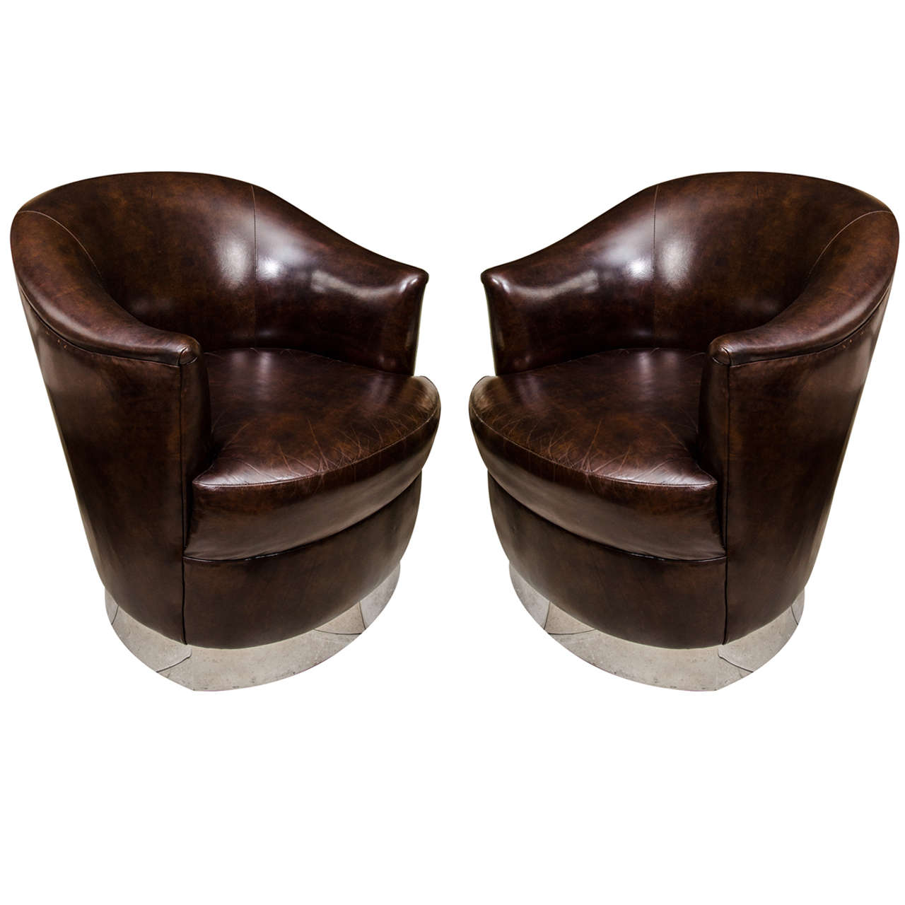 barrel swivel chairs upholstered pb anywhere chair pair of back leather swiveling club