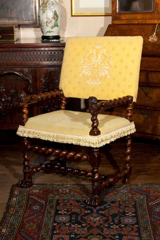 barley twist chair public seating chairs french renaissance carved walnut armchair for sale at 1stdibs