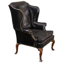 Black Leather Wingback Chair Best Chairs For Nursery Uk Wing At 1stdibs