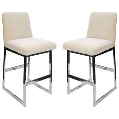 Upholstered Counter Height Chair Red Leather Side Pair Of Luxe Mid Century Modern Stools At 1stdibs