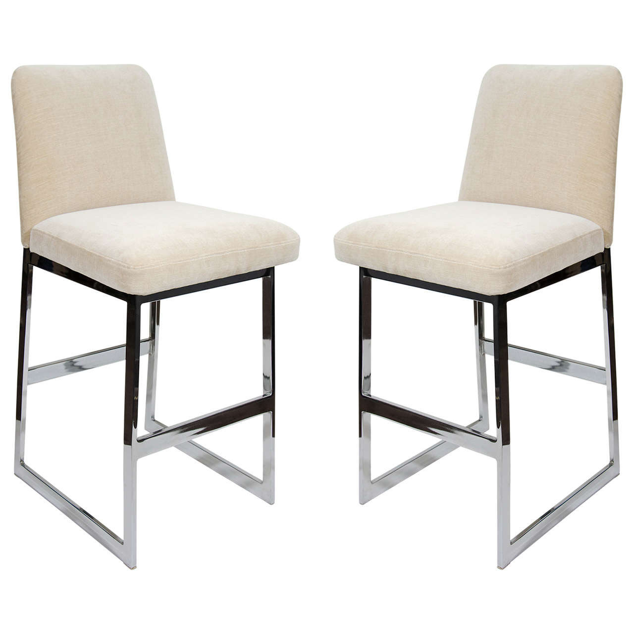 Upholstered Bar Chairs Pair Of Luxe Mid Century Modern Upholstered Counter Stools