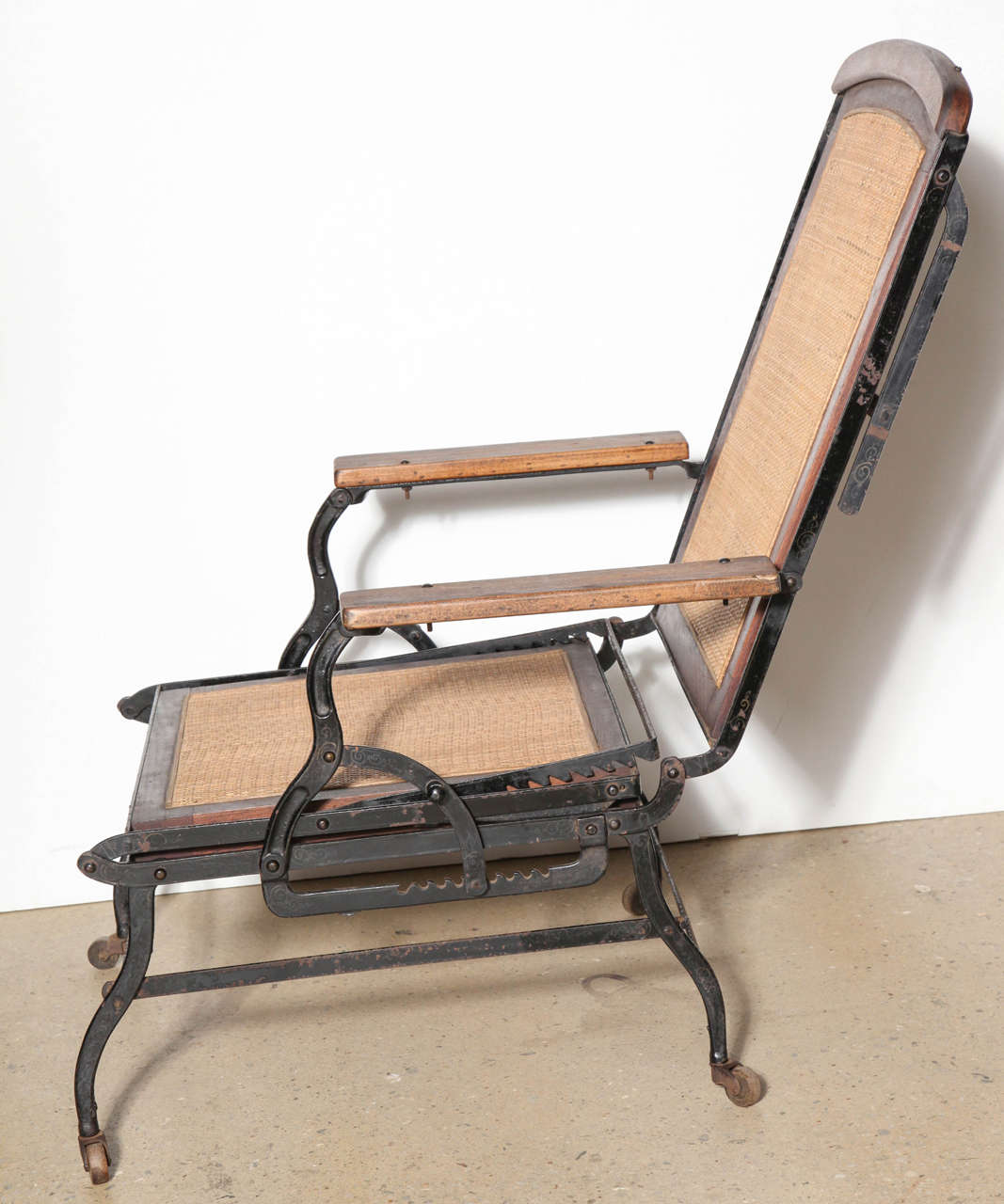 iron chaise lounge chairs car seat chair circa 1876 rolling walnut cane and black cast