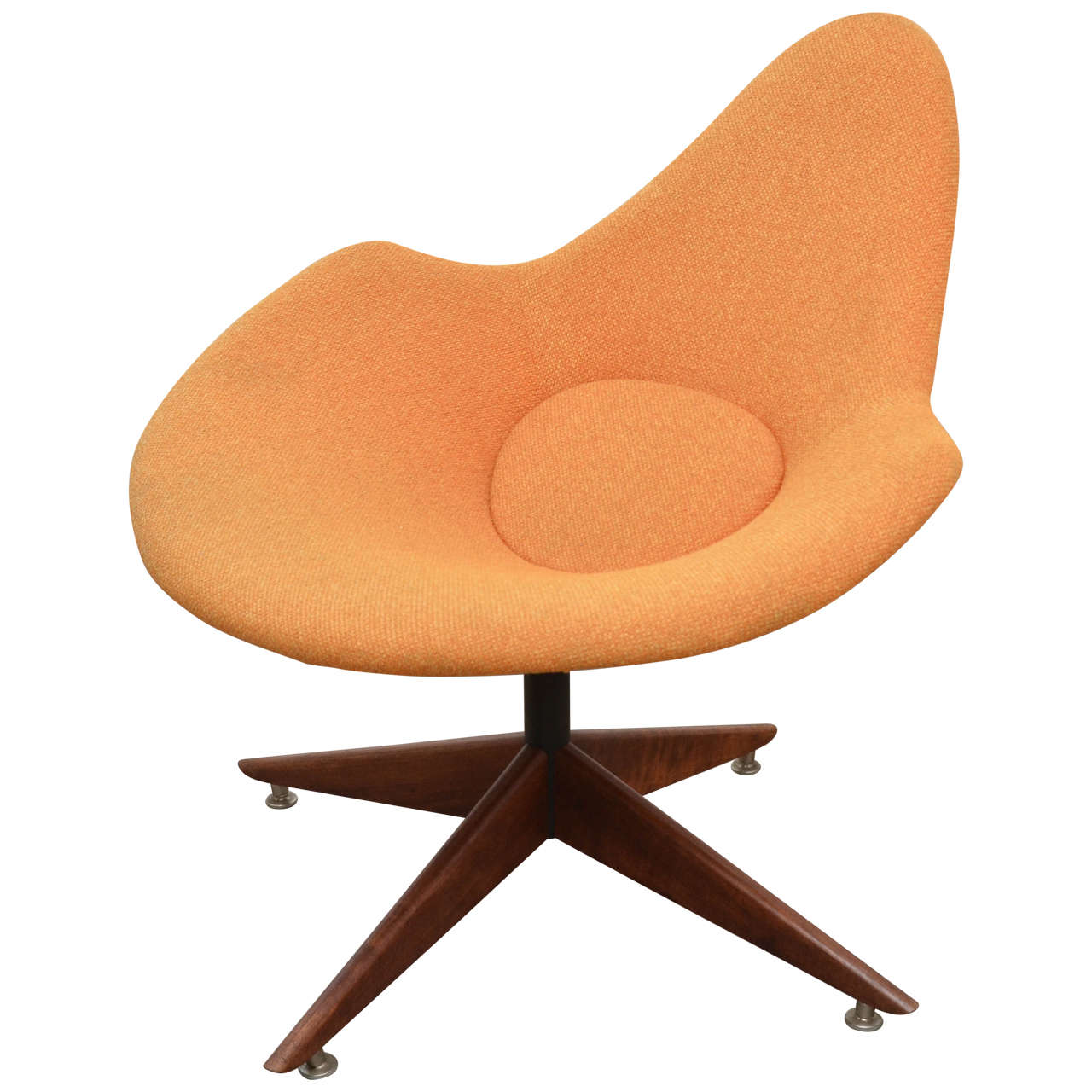 Chair Swivel Base Mod Styled Chair With Wood Swivel Base At 1stdibs