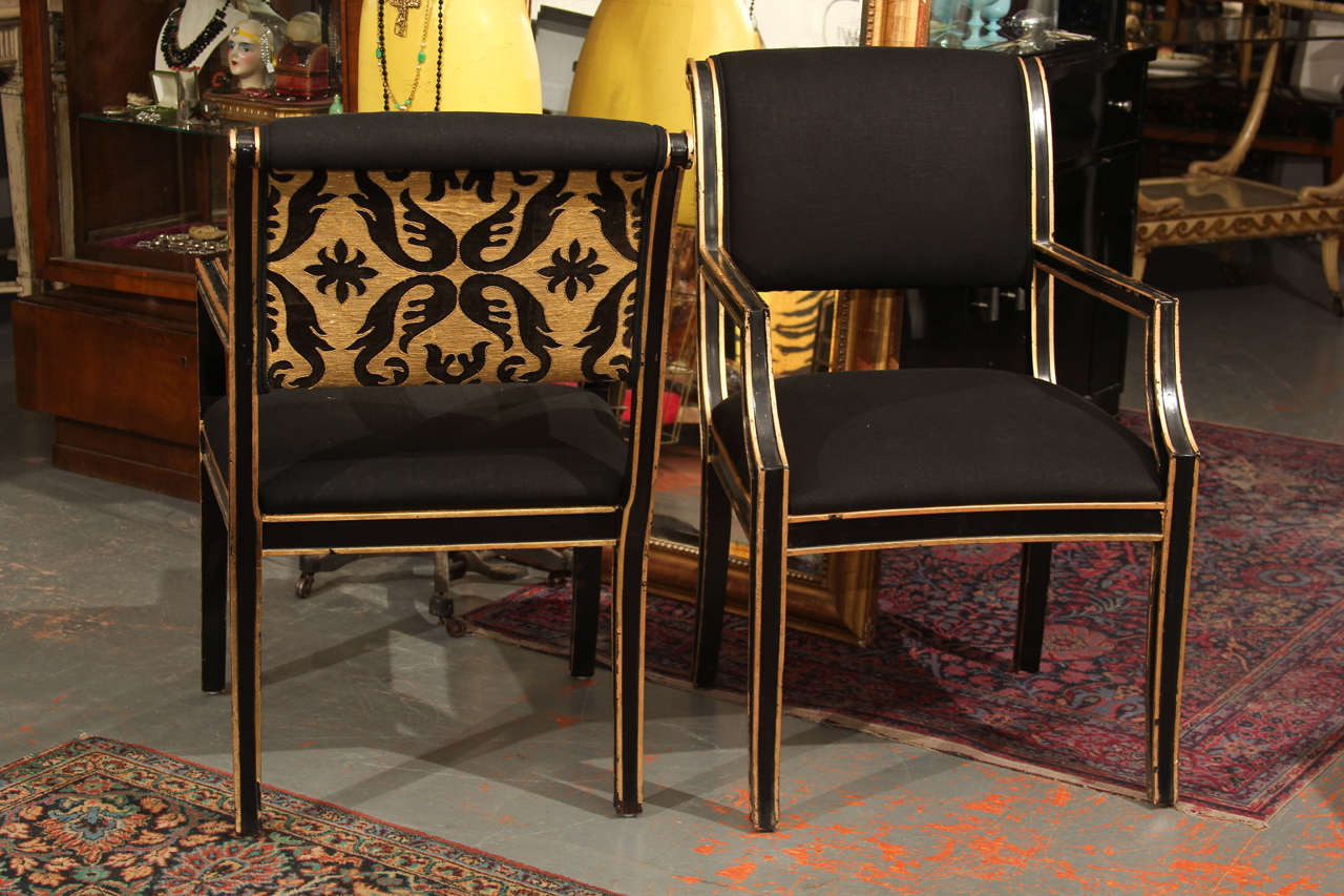 modern art chair covers and linens decorating a for baby shower 6 handsome chairs in black linen sale at 1stdibs