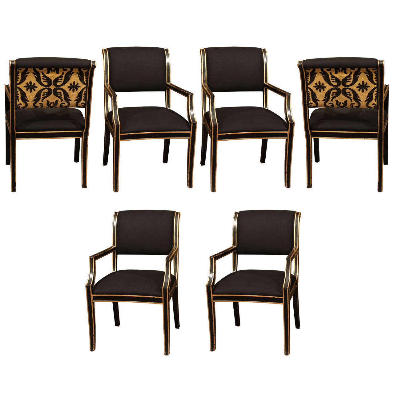 modern art chair covers and linens best ergonomic 6 handsome chairs in black linen for sale at 1stdibs