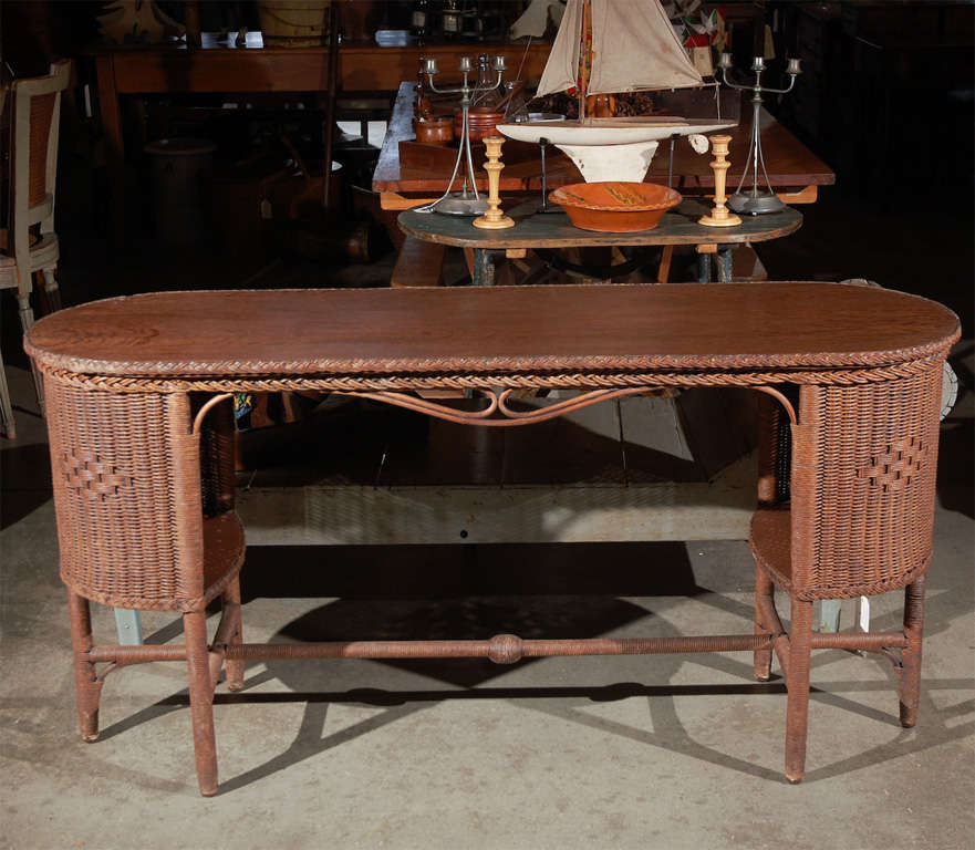 Wicker And Wood Library Table At 1stdibs
