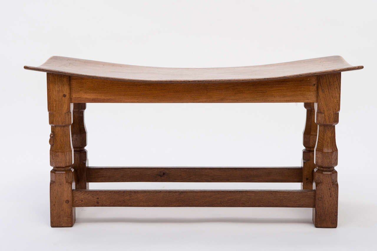 Dish Chair A Robert Mouseman Thompson Oak Double Dish Stool At 1stdibs
