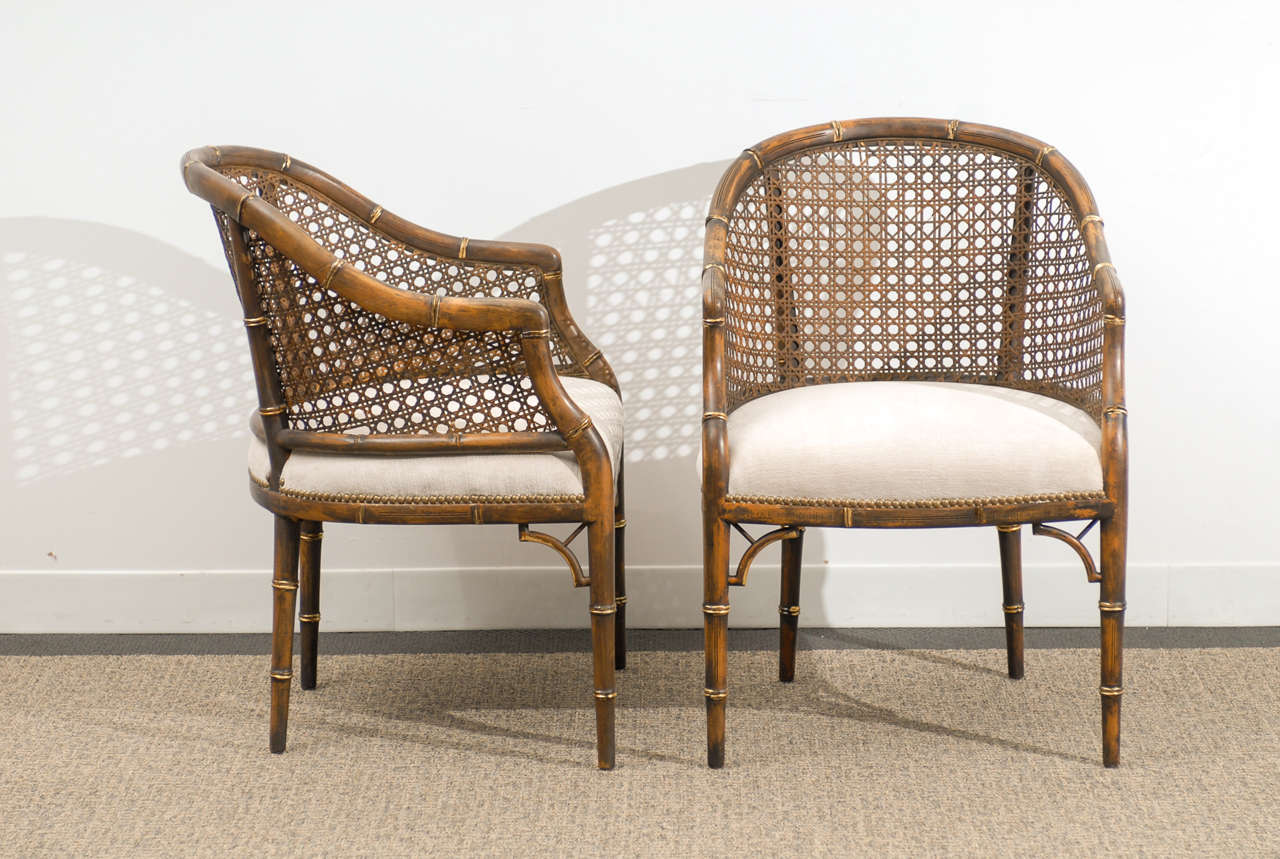 bamboo chairs for sale kohls rocking chair beautiful vintage faux cane barrel back 4 available handsome mellow pair of and armchairs while the