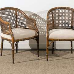 Mid Century Cane Barrel Chair Stair Lift Beautiful Vintage Faux Bamboo Back Chairs 4 Available Modern
