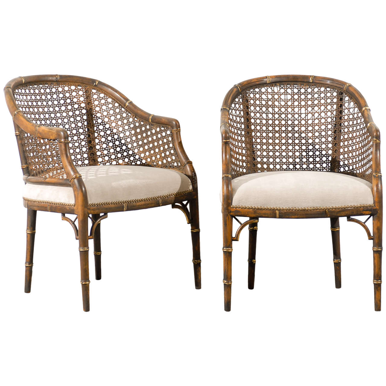 Vintage Cane Back Chairs Beautiful Vintage Faux Bamboo Cane Barrel Back Chairs 4