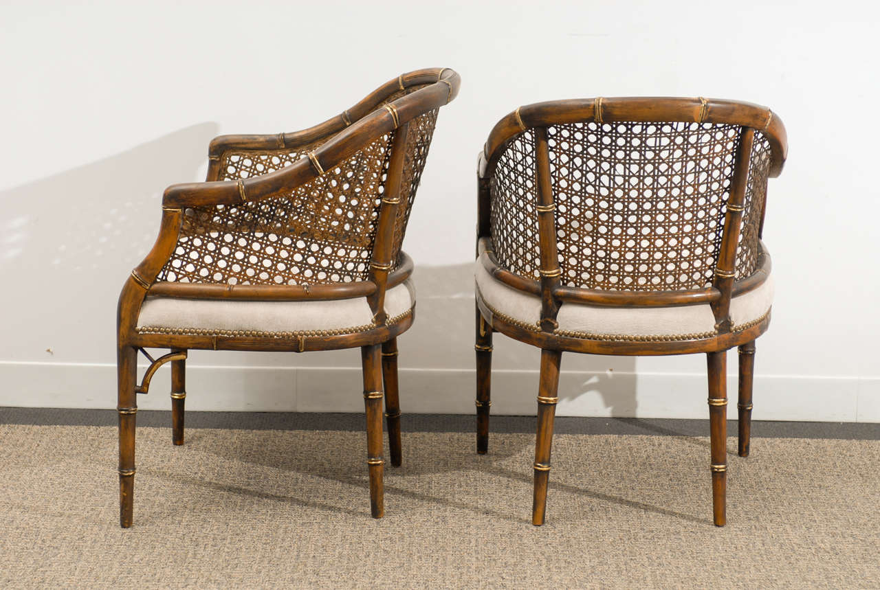 bamboo cane back chairs ikea folding chair jeff beautiful vintage faux barrel 4