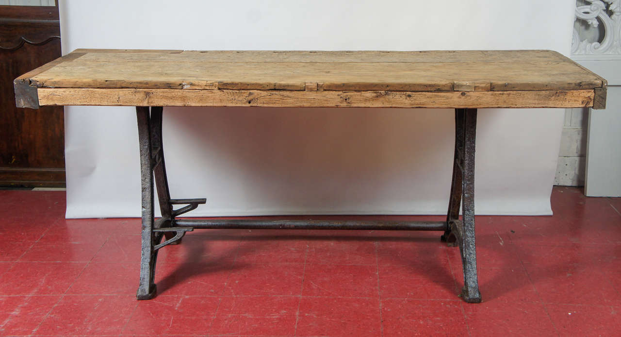 kitchen workbench epson printer industrial steel island table at 1stdibs rustic country top with french base can be used as work