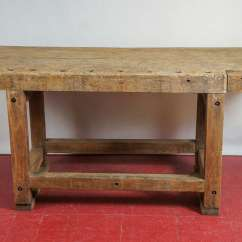 Kitchen Console Table Kraftmaid Kitchens Industrial Workbench Island At 1stdibs Rustic Country Or Top With Wonderful Patina Modified To Be Used As