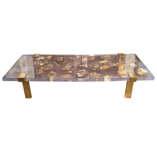 Coffee Table with Gold Inlay