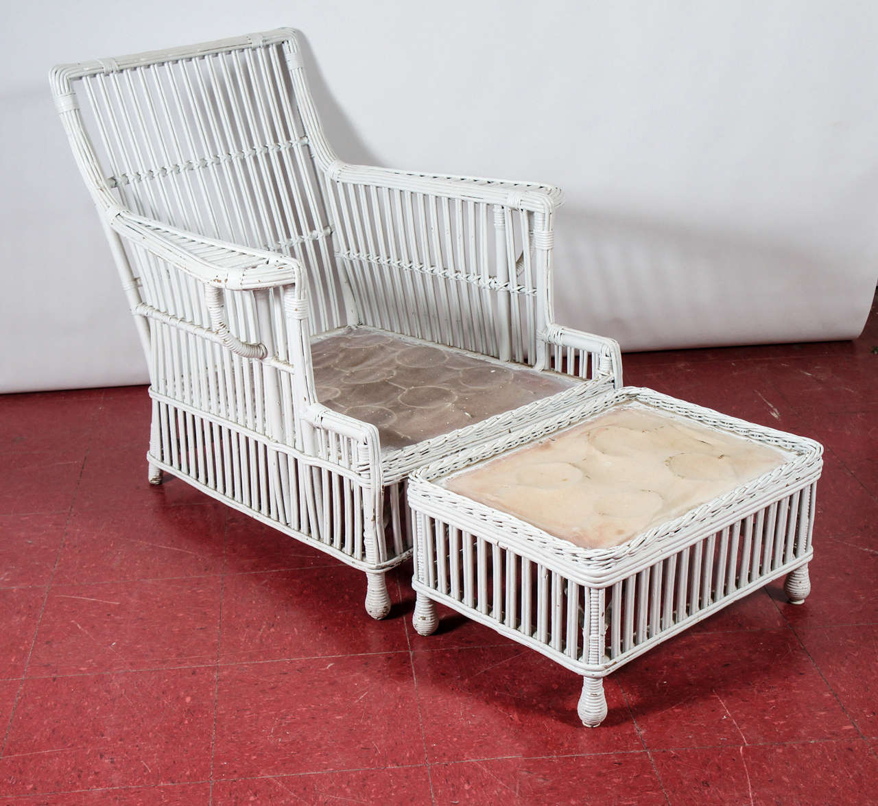chair and matching stool ergonomic marina square stick wicker rattan arm at 1stdibs