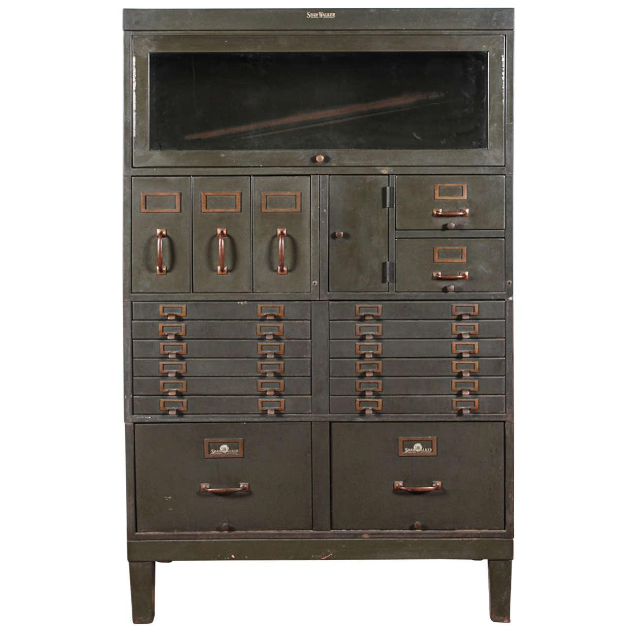 Vintage Shaw Walker Industrial Office Cabinet at 1stdibs