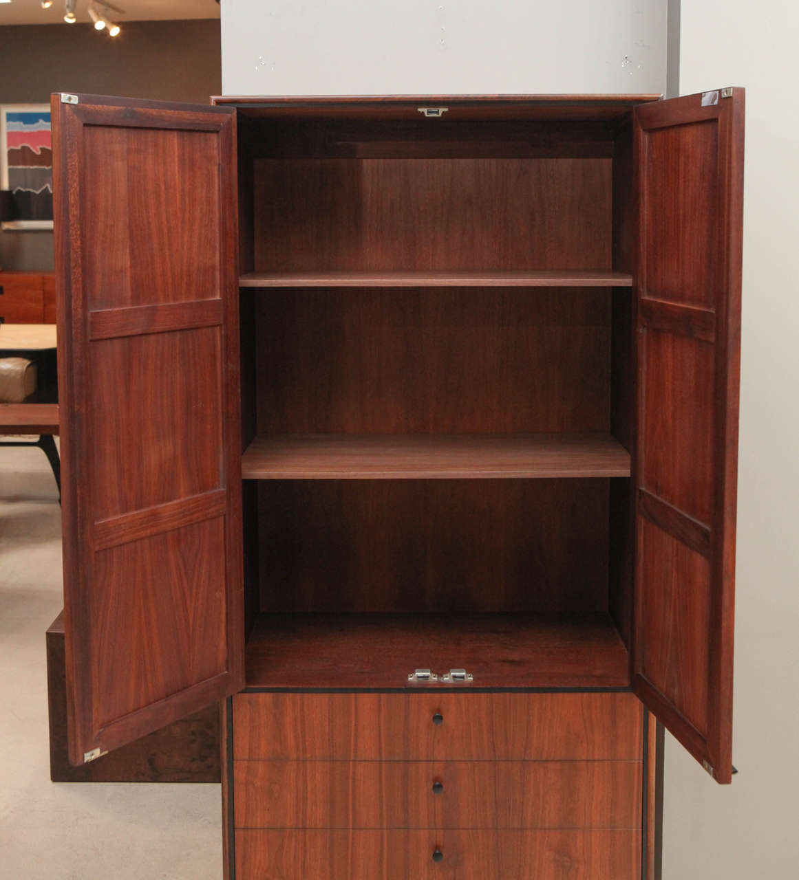 Tall Walnut and Cane Cabinet with Drawers at Bottom at 1stdibs