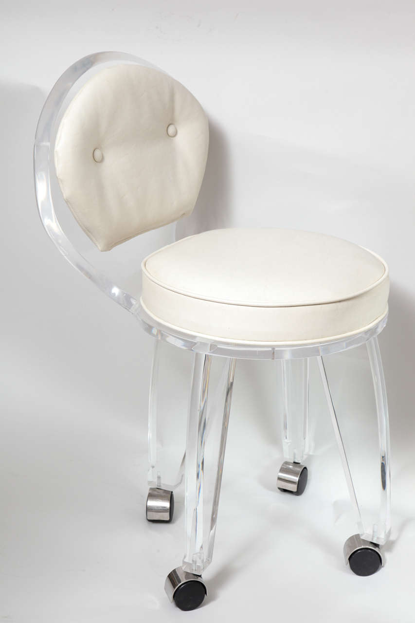 rolling stool chair swing for sale lucite upholstered swivel vanity at 1stdibs