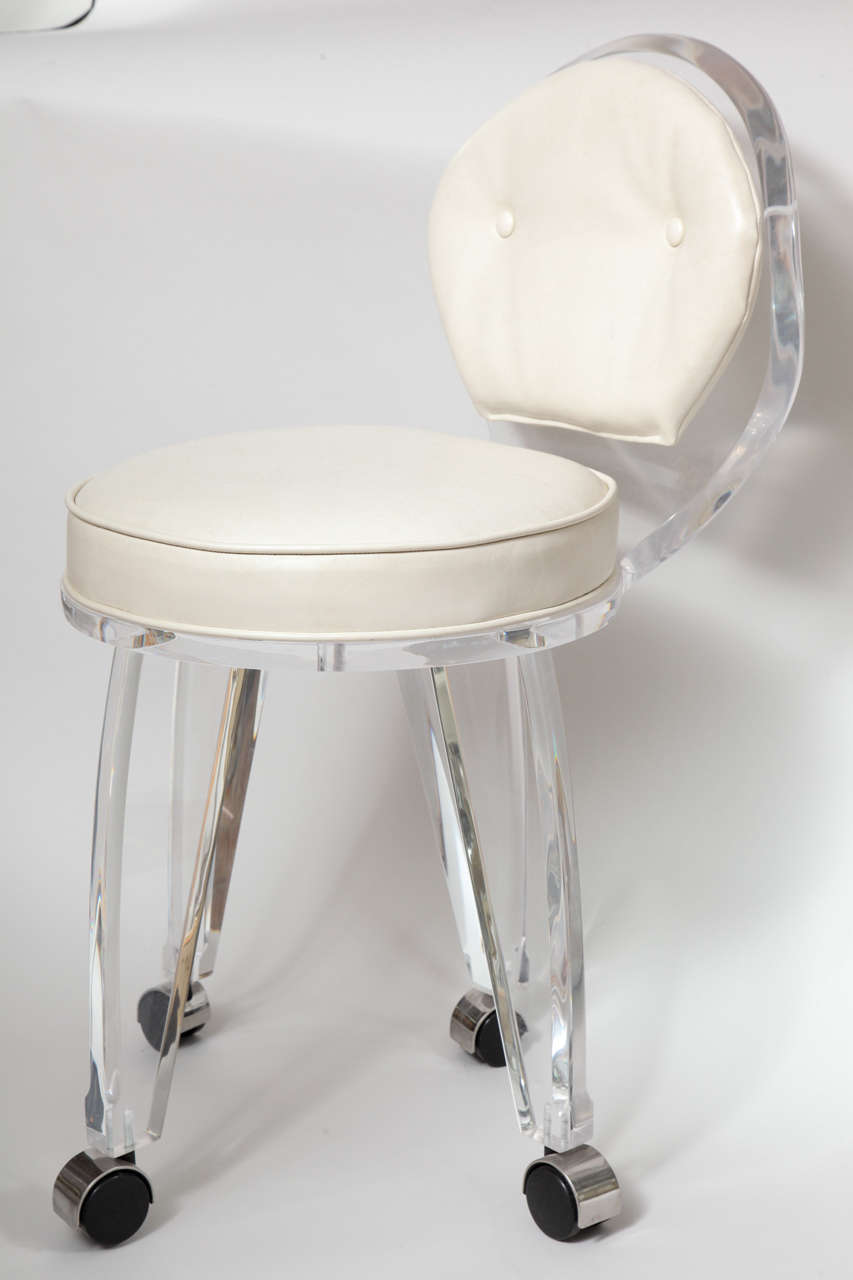 rolling chairs for office folding lawn on sale lucite upholstered swivel vanity chair at 1stdibs