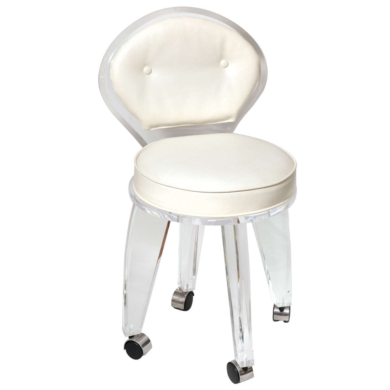 Upholstered Vanity Chair Lucite Upholstered Rolling Swivel Vanity Chair At 1stdibs