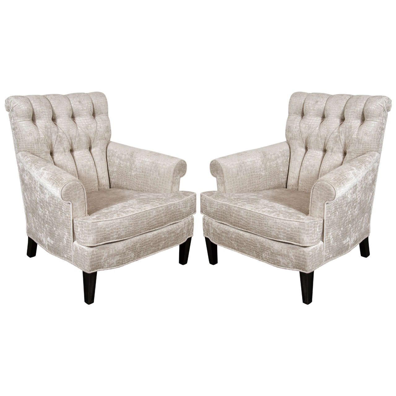 velvet tufted chair wicker cushion pair of mid century back scroll arm club chairs in crocodile for