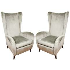 Upholstered Wingback Chair Wood Recliner Pair Of Chairs With Feet At 1stdibs